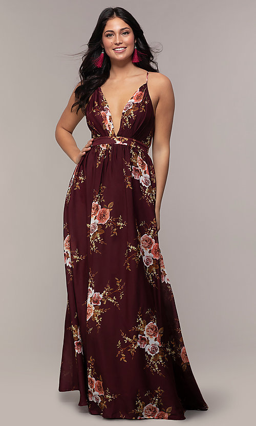 Image of a plunging-v-neck floral-print prom dress by Simply. Style: LP-SD-MG20031 Detail Image 5