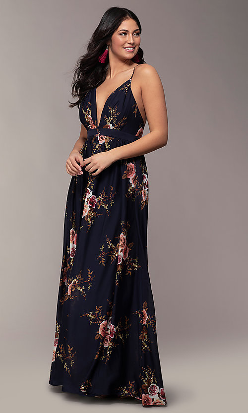 Image of a plunging-v-neck floral-print prom dress by Simply. Style: LP-SD-MG20031 Back Image