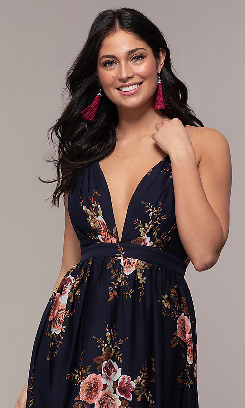 Image of a plunging-v-neck floral-print prom dress by Simply. Style: LP-SD-MG20031 Detail Image 2