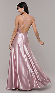 Image of long satin v-neck prom dress by Simply. Style: LP-SD-27924 Detail Image 5