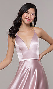 Image of long satin v-neck prom dress by Simply. Style: LP-SD-27924 Detail Image 6
