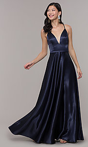 Image of long satin v-neck prom dress by Simply. Style: LP-SD-27924 Detail Image 1