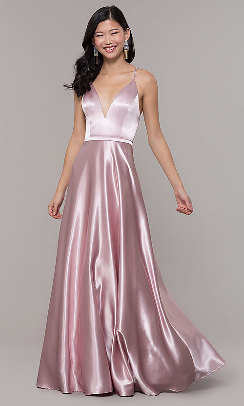 Image of long satin v-neck prom dress by Simply. Style: LP-SD-27924 Detail Image 4