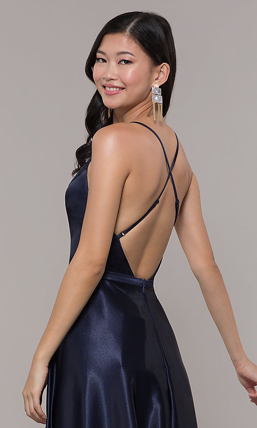 Image of long satin v-neck prom dress by Simply. Style: LP-SD-27924 Detail Image 3