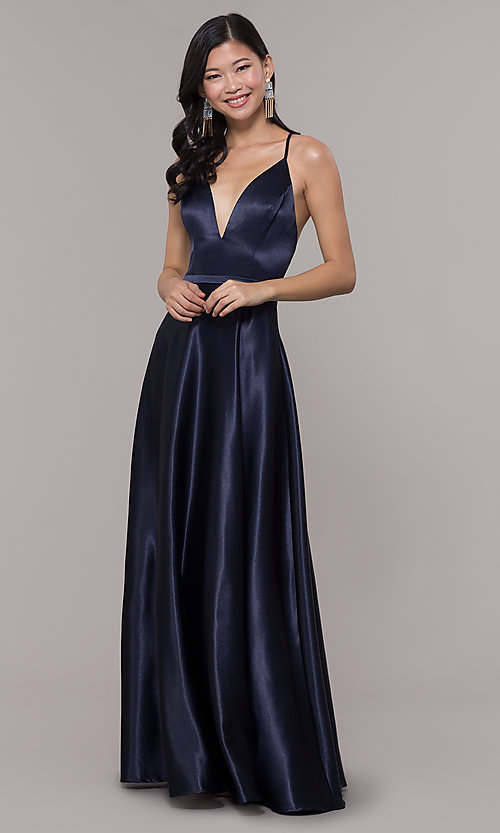 8c6196e75c5 Image of long satin v-neck prom dress by Simply. Style  LP-
