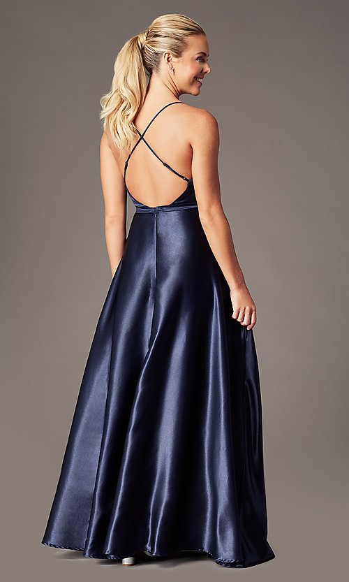Image of long satin v-neck prom dress by Simply. Style: LP-SD-27924 Back Image