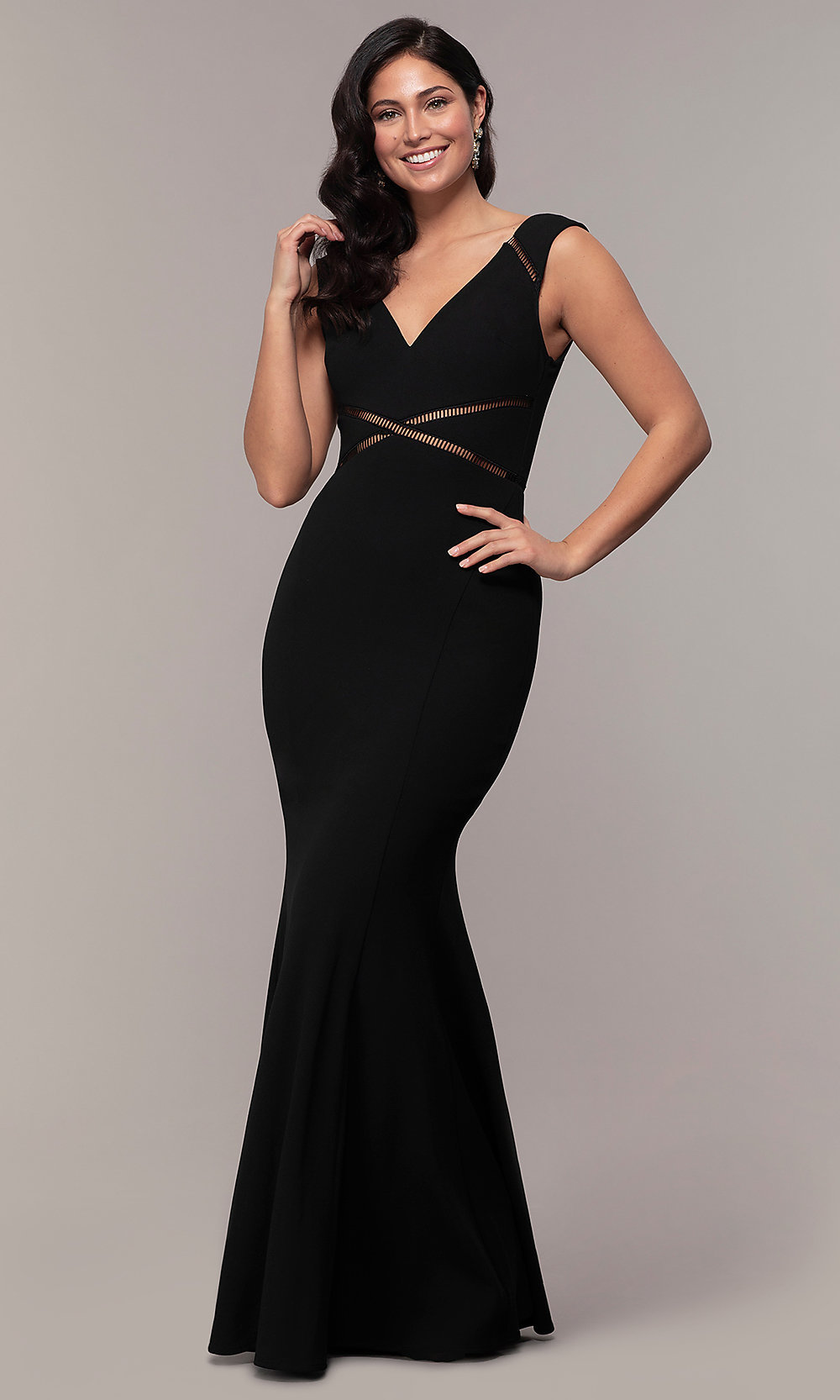 b04426fb453d0 Image of long v-neck mermaid Simply prom dress with open back. Style  Tap  to expand