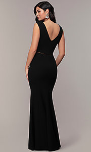 Image of long v-neck mermaid Simply prom dress with open back. Style: LP-SD-24637 Back Image