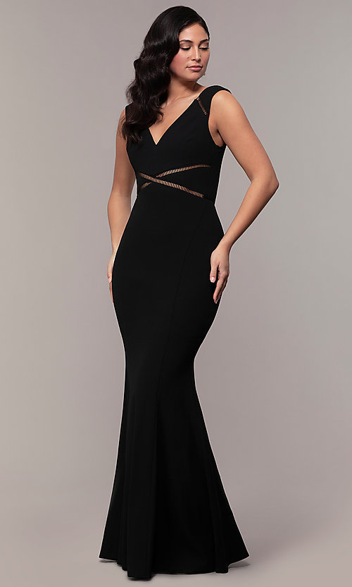 Image of long v-neck mermaid Simply prom dress with open back. Style: LP-SD-24637 Detail Image 3