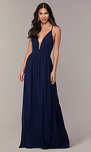 Image of chiffon Simply prom dress with adjustable straps. Style: LP-SD-25332 Front Image