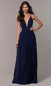 Image of chiffon Simply prom dress with adjustable straps. Style: LP-SD-25332 Detail Image 3