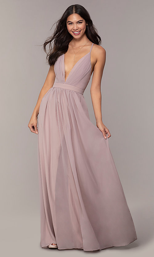 Image of chiffon Simply prom dress with adjustable straps. Style: LP-SD-25332 Detail Image 4