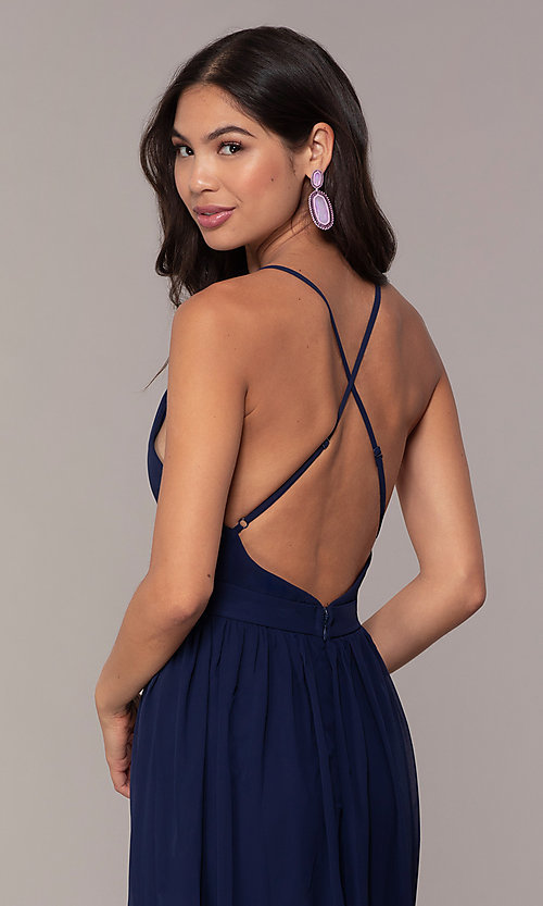 Image of chiffon Simply prom dress with adjustable straps. Style: LP-SD-25332 Detail Image 2