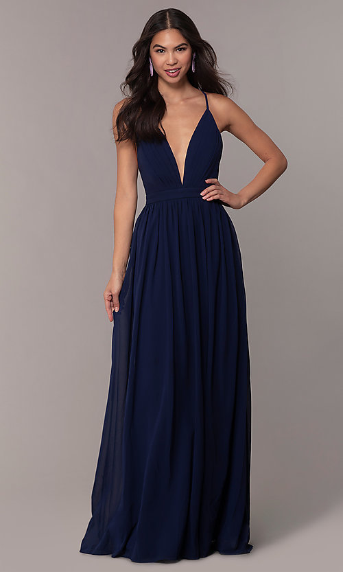 Image of chiffon Simply prom dress with adjustable straps. Style: LP-SD-25332 Detail Image 8