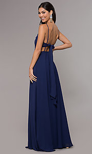 Image of long chiffon tie-back v-neck prom dress by Simply. Style: LP-SD-25486 Back Image