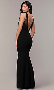 Image of high-neck v-back long prom dress by Simply. Style: LP-SD-27866 Back Image