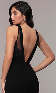 Image of high-neck v-back long prom dress by Simply. Style: LP-SD-27866 Detail Image 2