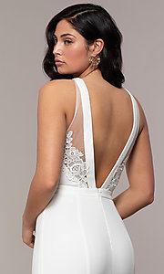 Image of high-neck v-back long prom dress by Simply. Style: LP-SD-27866 Detail Image 7