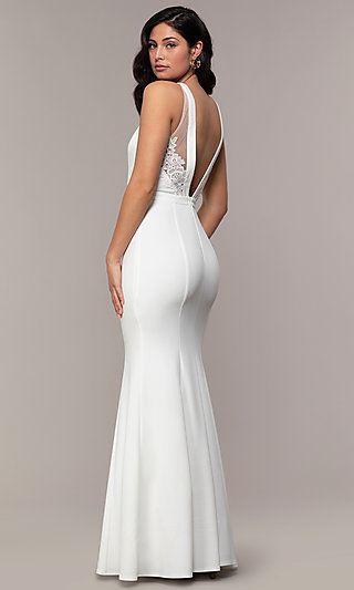 High-Neck V-Back Long Prom Dress by Simply