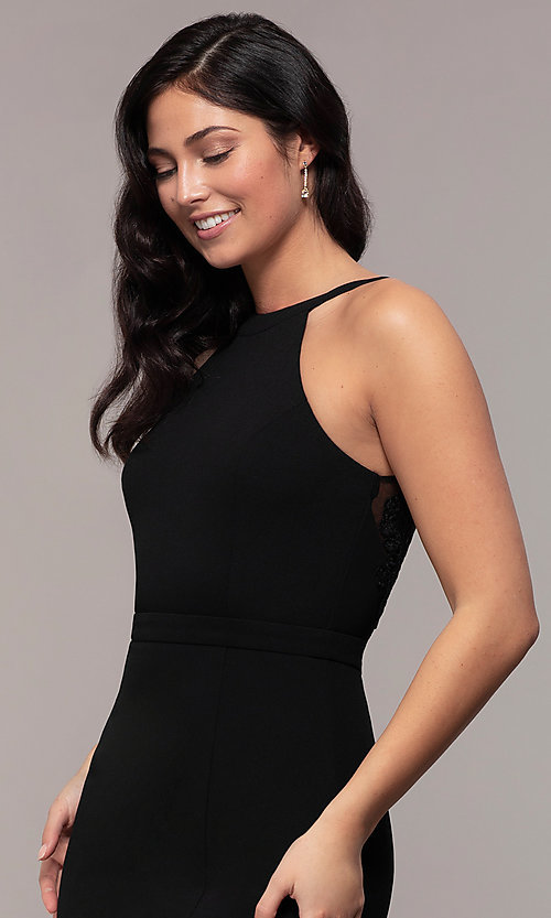 Image of high-neck v-back long prom dress by Simply. Style: LP-SD-27866 Detail Image 6