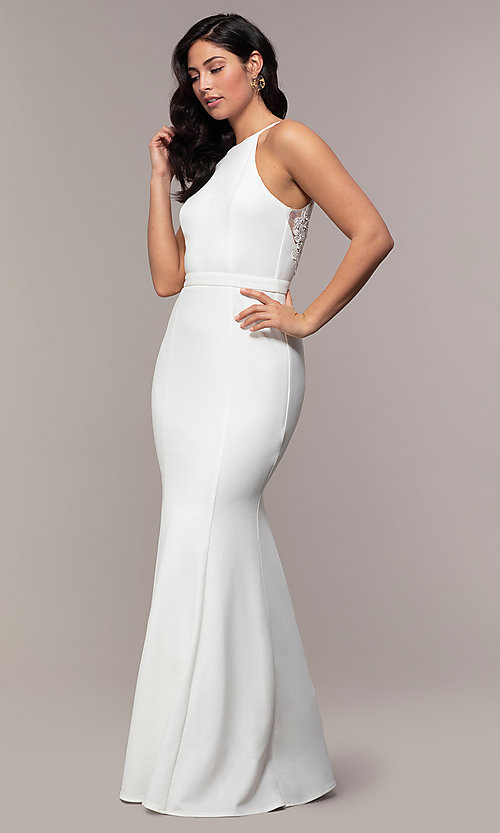 Image of high-neck v-back long prom dress by Simply. Style: LP-SD-27866 Detail Image 8