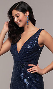 Image of striped sequin long v-neck prom dress by Simply. Style: LP-SD-26114 Detail Image 1
