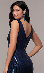 Image of striped sequin long v-neck prom dress by Simply. Style: LP-SD-26114 Detail Image 7