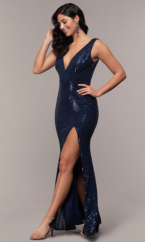 Image of striped sequin long v-neck prom dress by Simply. Style: LP-SD-26114 Detail Image 3