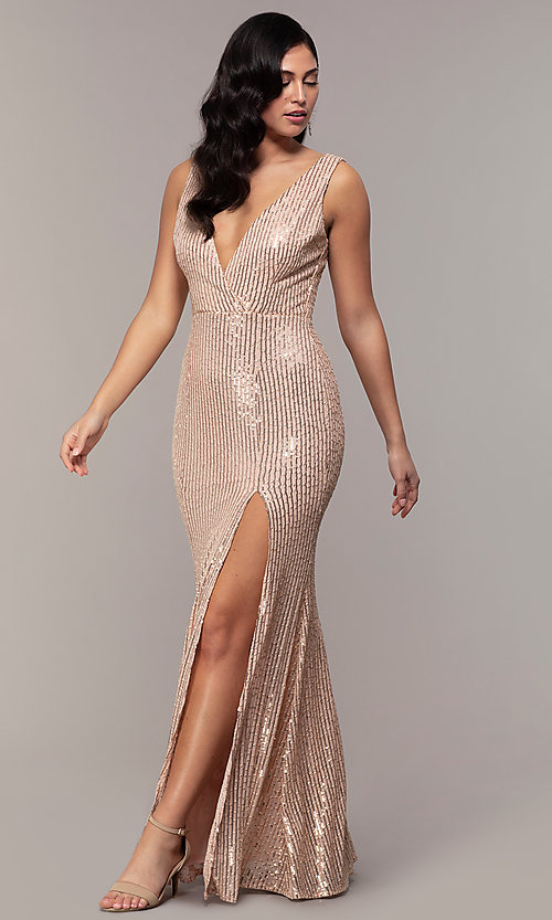 Image of striped sequin long v-neck prom dress by Simply. Style: LP-SD-26114 Detail Image 8