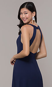 Image of long navy blue v-neck prom dress by Simply. Style: LP-SD-27901 Detail Image 2