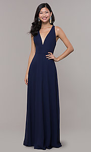 Image of long navy blue v-neck prom dress by Simply. Style: LP-SD-27901 Detail Image 3