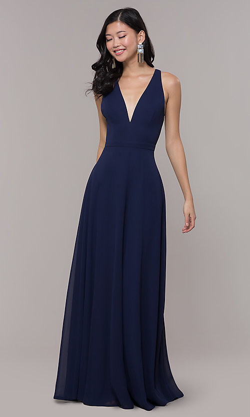 Image of long navy blue v-neck prom dress by Simply. Style: LP-SD-27901 Front Image