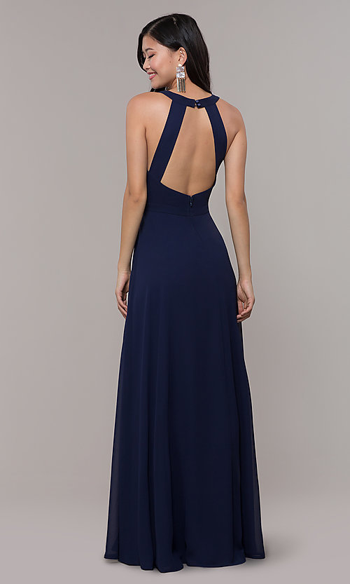 Image of long navy blue v-neck prom dress by Simply. Style: LP-SD-27901 Back Image