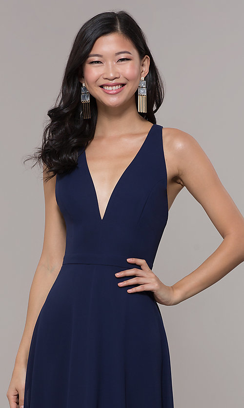Image of long navy blue v-neck prom dress by Simply. Style: LP-SD-27901 Detail Image 1