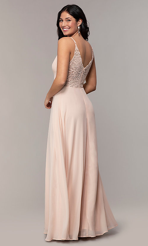 Image of long lace-back chiffon prom dress by Simply. Style: LP-SD-27845 Back Image