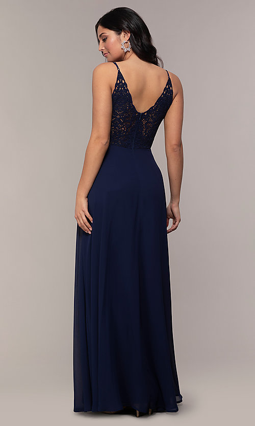 Image of long lace-back chiffon prom dress by Simply. Style: LP-SD-27845 Detail Image 5