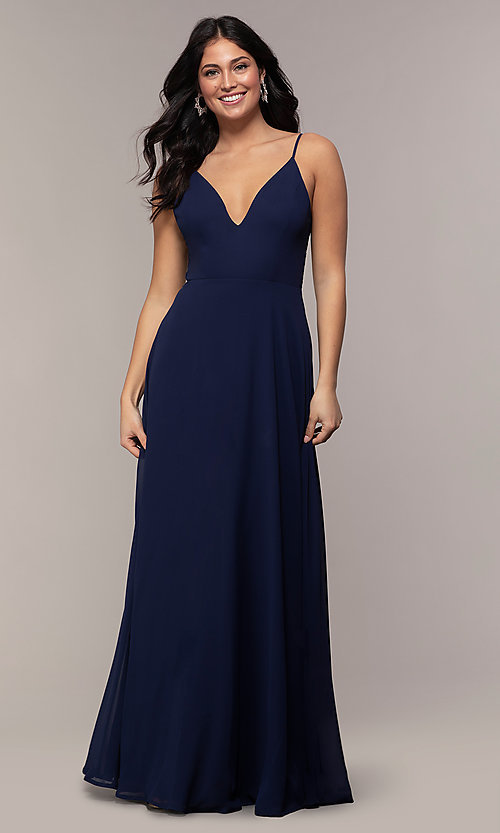 Image of long lace-back chiffon prom dress by Simply. Style: LP-SD-27845 Detail Image 3