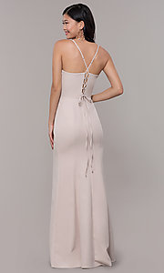 Image of long sleeveless corset-back prom dress by Simply. Style: LP-SD-27604 Back Image
