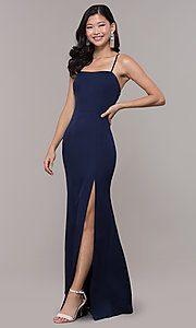 Image of long sleeveless corset-back prom dress by Simply. Style: LP-SD-27604 Detail Image 5