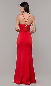 Image of long sleeveless corset-back prom dress by Simply. Style: LP-SD-27604 Detail Image 7