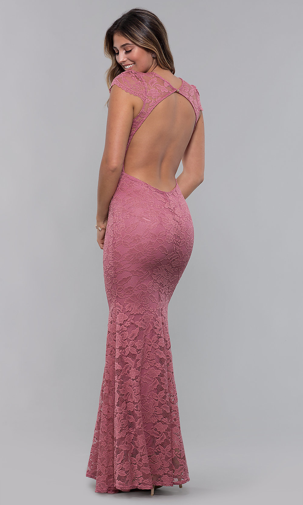 Mauve Pink V Neck Long Lace Prom Dress Promgirl