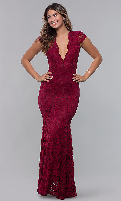 Image of v-neck long mauve pink lace prom dress. Style: CL-46421m Detail Image 3