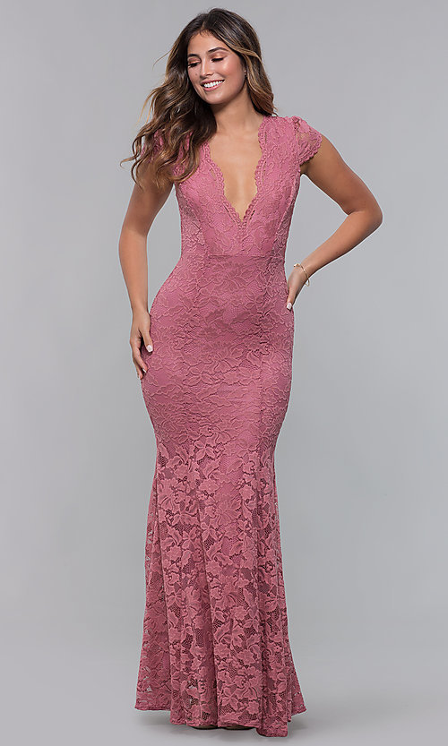 Image of v-neck long mauve pink lace prom dress. Style: CL-46421m Front Image