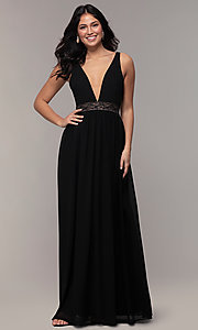 Image of long caged-open-back v-neck prom dress by Simply. Style: LP-SD-25847 Detail Image 3