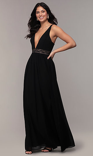 Long Caged-Open-Back V-Neck Prom Dress by Simply