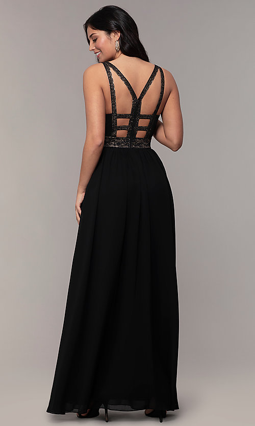 Image of long caged-open-back v-neck prom dress by Simply. Style: LP-SD-25847 Back Image
