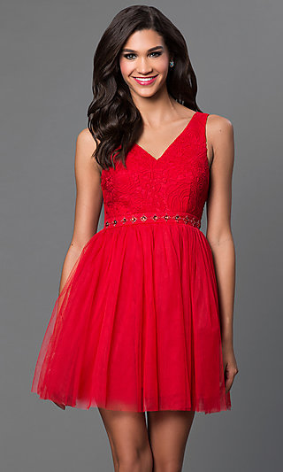 Short A-Line V-Neck Tulle Homecoming Dress