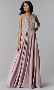 Image of long mauve chiffon prom dress with lace applique. Style: FB-GL2417m Front Image