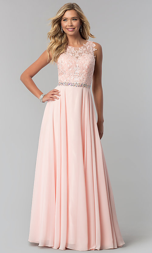 Image of long mauve chiffon prom dress with lace applique. Style: FB-GL2417m Detail Image 2