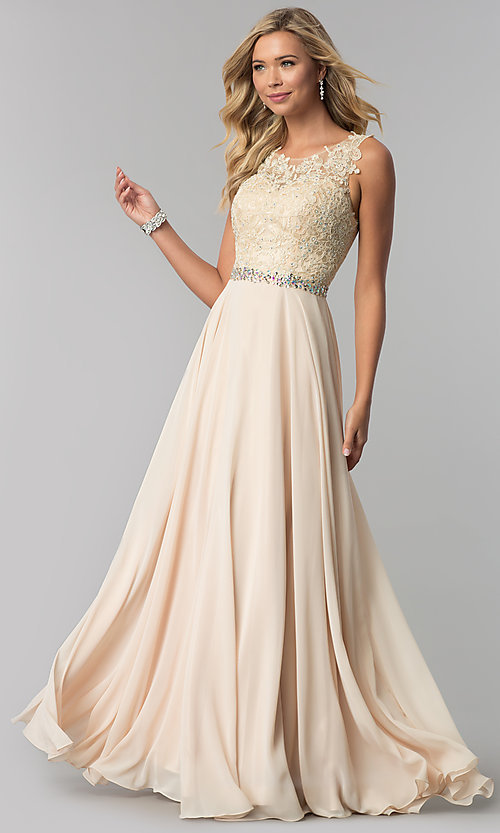 Image of long mauve chiffon prom dress with lace applique. Style: FB-GL2417m Detail Image 3